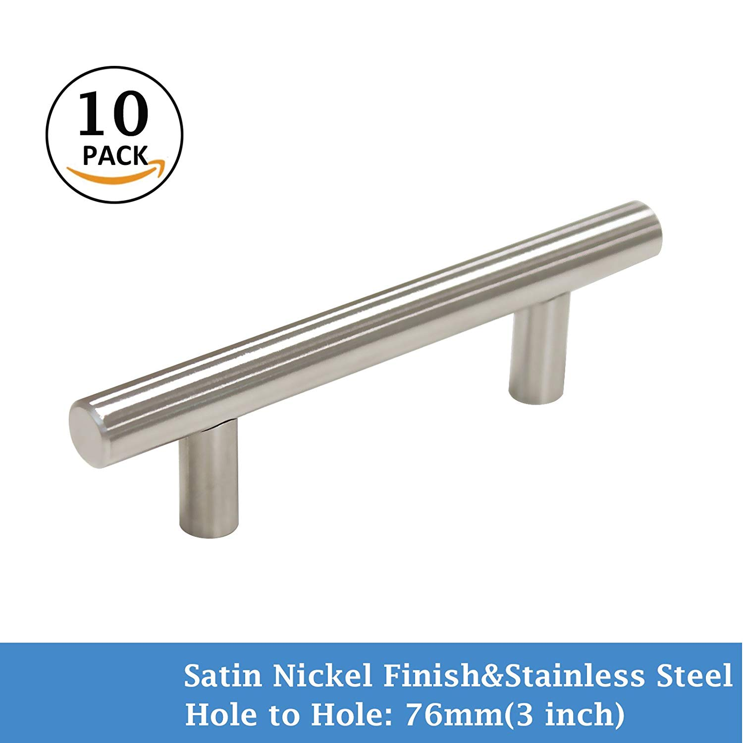 "10 Pack 3"" Hole Center Cabinet Pull Satin Nickel Finish Drawer Dresser T Bar Stainless Steel for Kitchen Cupboard Dresser Drawer"