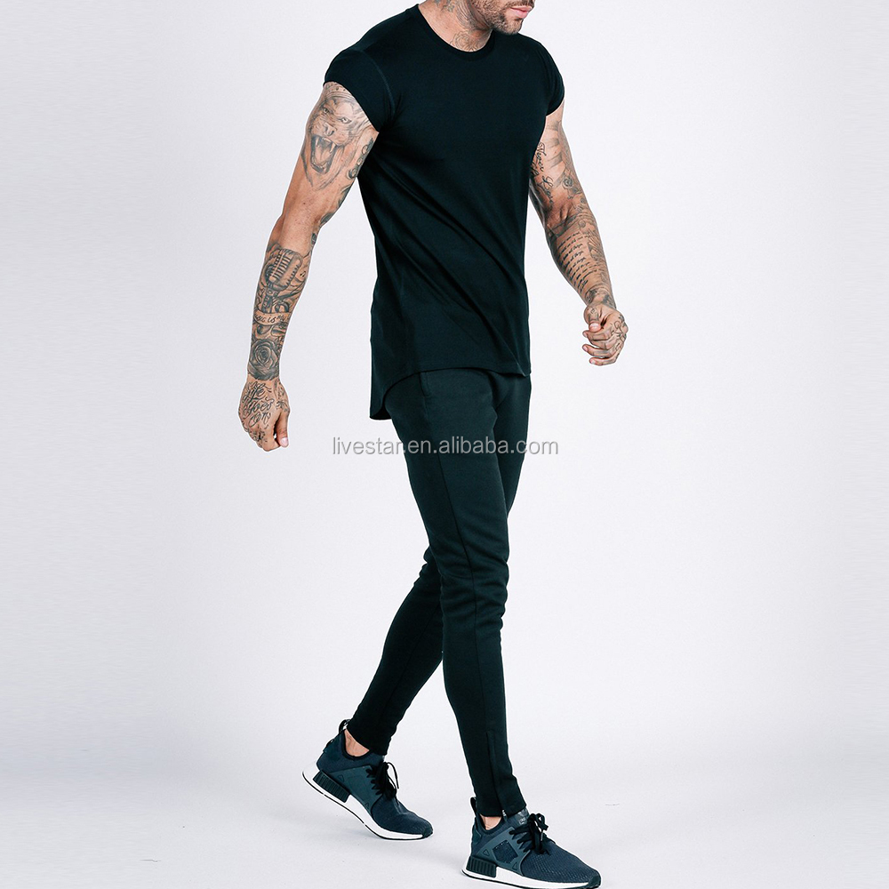 men workout clothing 94% cotton 6% elastane stretch black flow drop shoulder t shirt