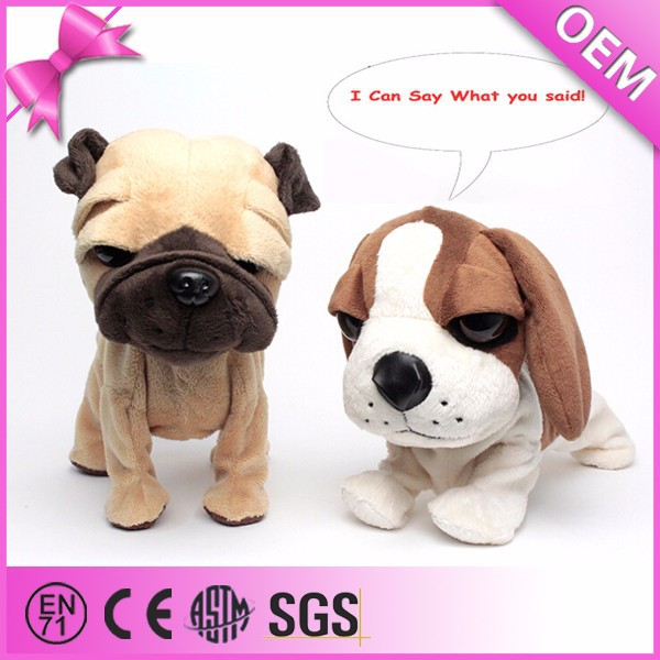Battery operated talking dog, electronic plush talking dog toys