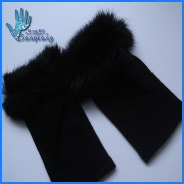 Hot sale lady fashion gloves 100% Rabbitt Fur /wool and acrylic knit fingerless gloves