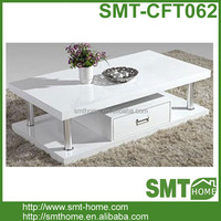 Wooden Gloss White Two Layers Coffee Tables With One Drawer
