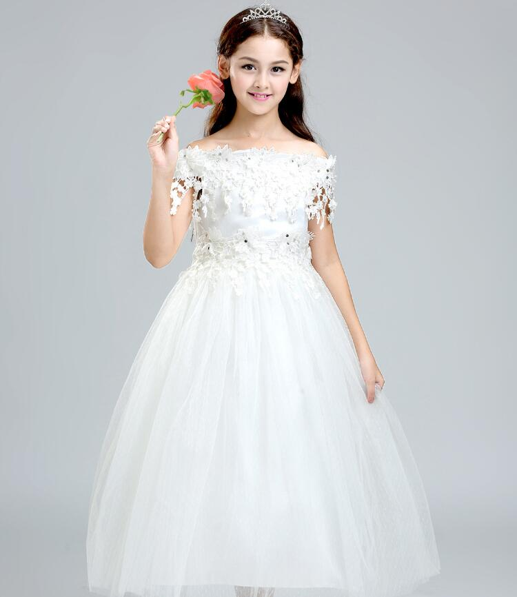 Girls 15 Years Old Maxi Dress Viscose Lace White Fashion Strapless Style Party 7-16 Dresses