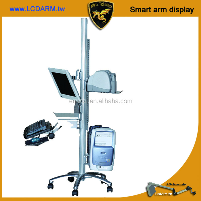 Computer Lcd Mobile Cart with Monitor Printer Ergonomic Keyboard Arm CPU Holder all Adjustable Height