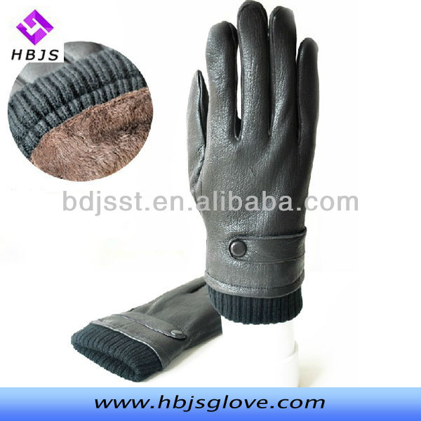Winter new men's classic warm leather gloves joker strap buttons