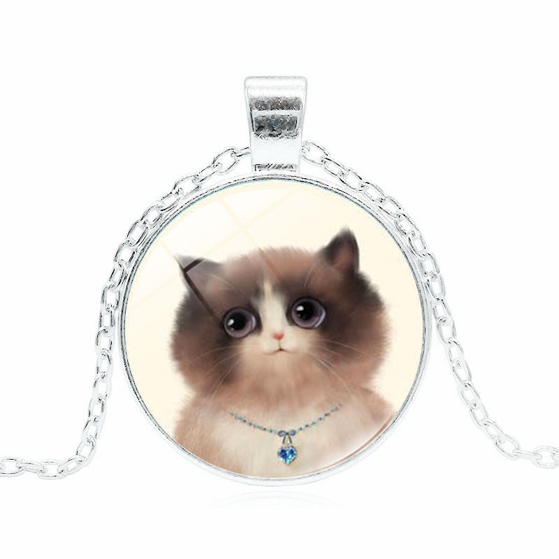 Fashion Black Cat Silver/Bronze Plated Glass Time gem Cabochon Round Pendant Necklace Charm Jewelry Long Chain for Men and Women
