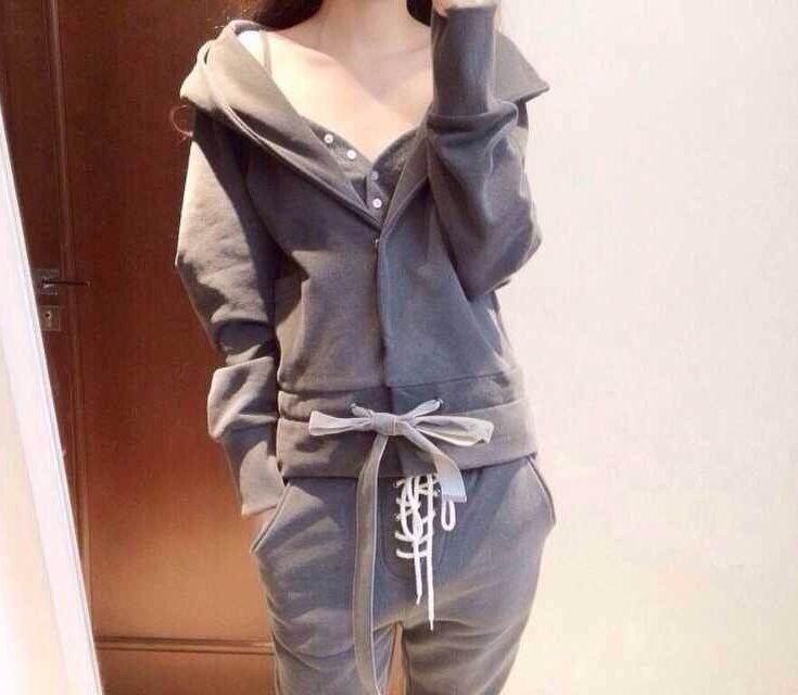 2016 new style long sleeve fashion hoodie ladies clothing sets 3pcs sweatshirt