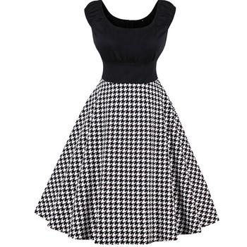 4423aad304662 China Women Cute Big Size Evening Vintage Sleeveless Houndstooth 1950s  Audrey Hepburn Style Swing Dress - Buy China Dress,Cute Dress,Big Size  Women ...