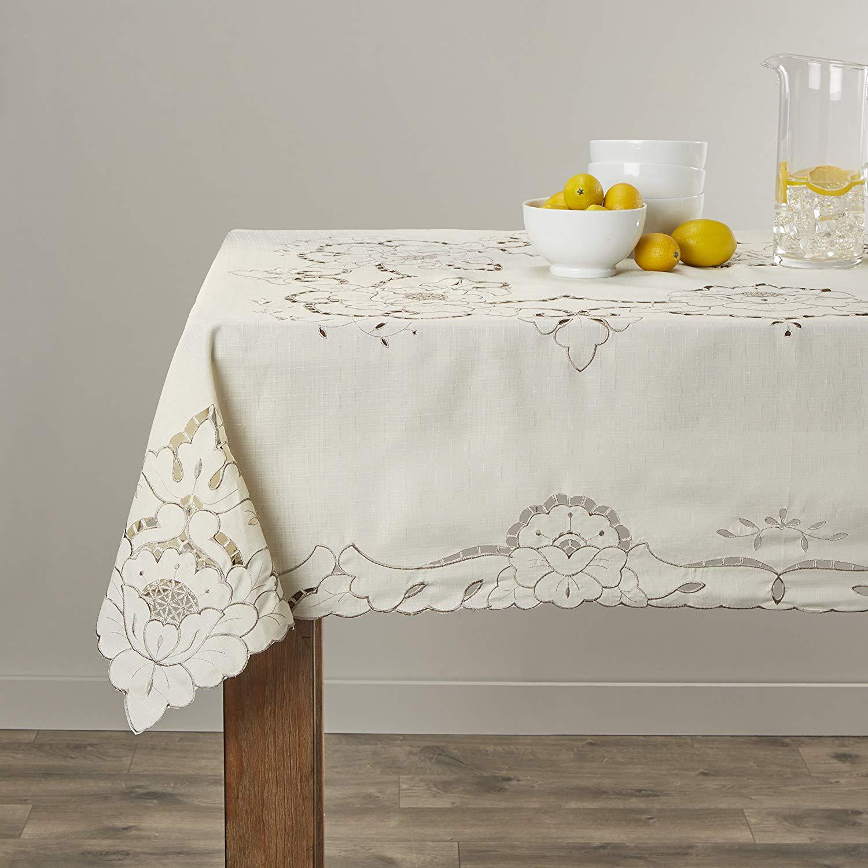 "Violet Linen Sapphire Embroidered Design Tablecloth, 60"" Round, Beige"