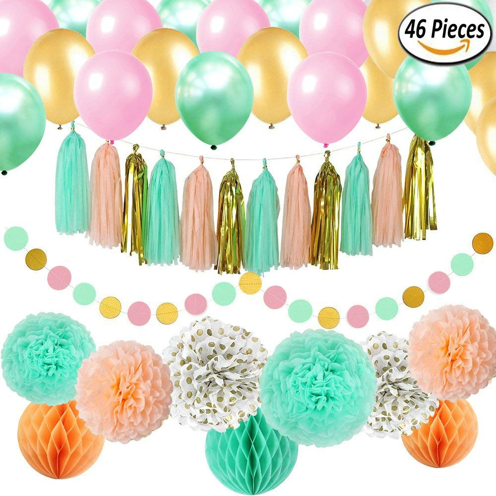46 pcs Gold Mint Pink Party Decorations Kit Sogorge Party Supplies Including Paper Pom Poms Flowers & Tissue Tassel Garland & Balls & Party Balloons for Birthday Party, Engagement, Wedding,Baby shower