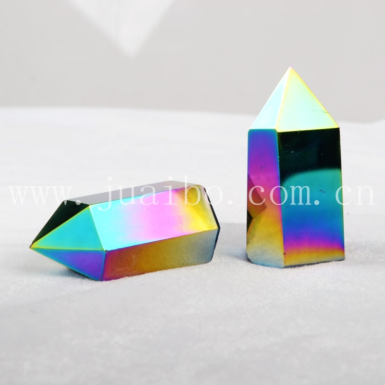 Fancy rainbow angel aura crystal pyramid pendants