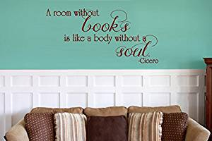 """GMDdecals® """"Room Without Books"""" Cicero Quote Vinyl Wall Decor Decals [GLOSSY MAROON]- 24 inches x 12 inches -Adhesive High Glossy Vinyl [3mil] **Made In USA**"""