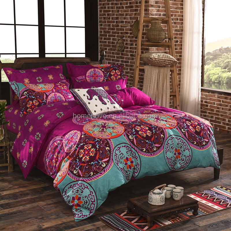 Bohemian Mandala Modern Bedding Set Polyester Fashion Duvet Cover with Printed Bed Sheet Pillow Case