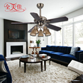 6 Speed European Style No Noise Dc Motor 220V Ceiling Fan With Glass Lampshade