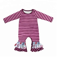 Hot sale girls stripe matching floral outfits infant ruffle snaps bodysuit wholesale boutique clothing romper