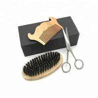 High quality beard brush and comb set scissors grooming kit