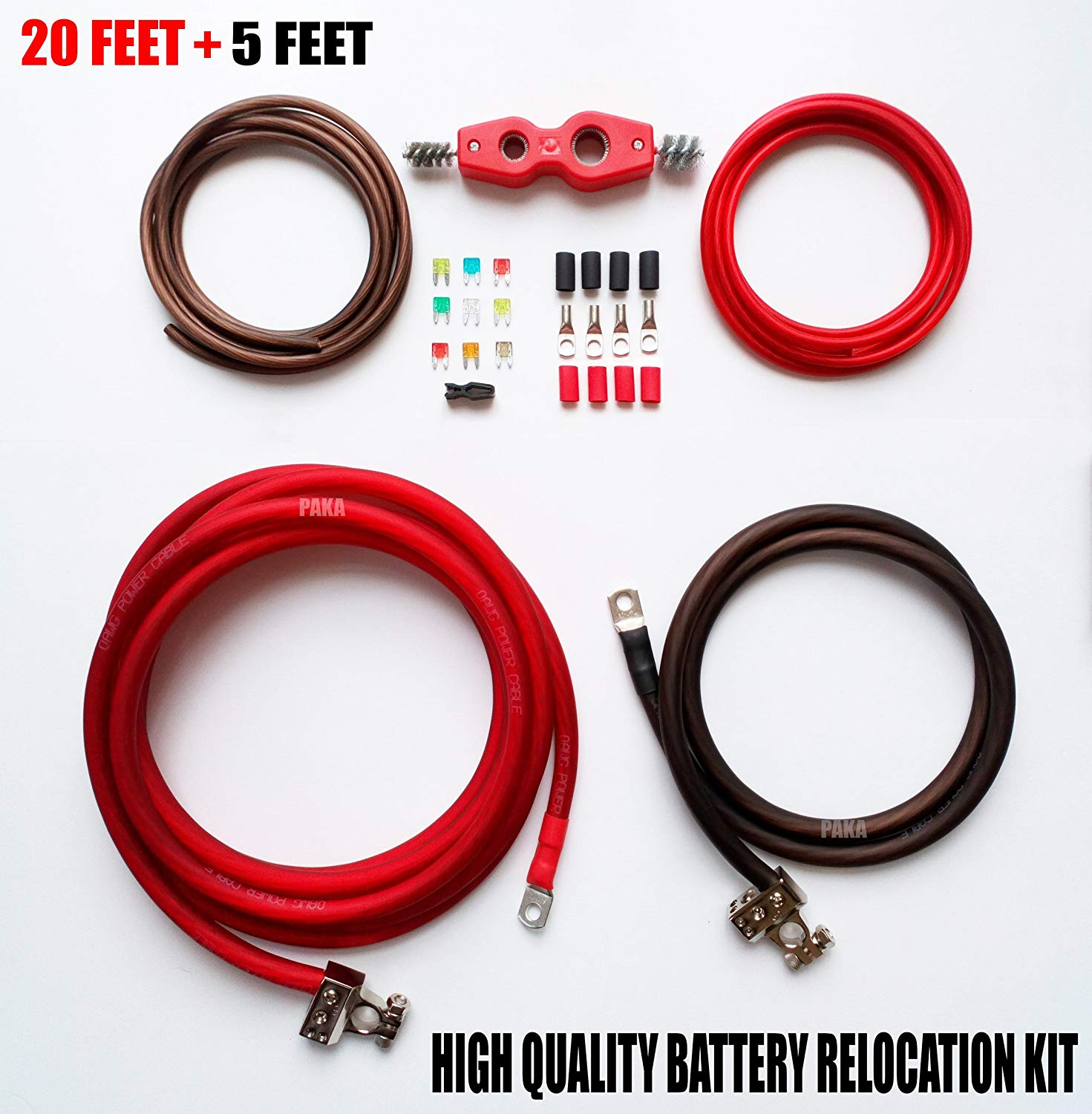 Battery Relocation Kit, 1/0 AWG Cable, Top Post 20 FT RED/ 5 FT BLACK