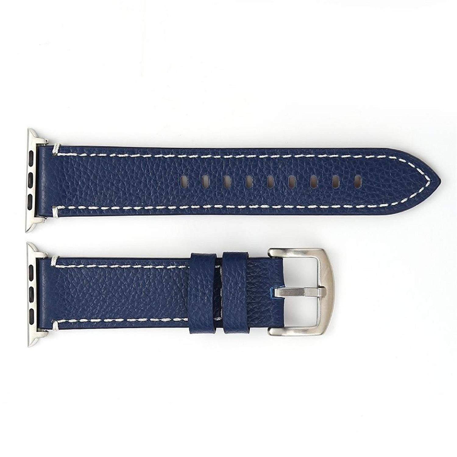 Owill Litchi Pattern Durable Leather Strap Replacement Band Bracelet Watchband For Apple Watch 1/2 38MM,Suitable wrist 160-225MM (Navy)
