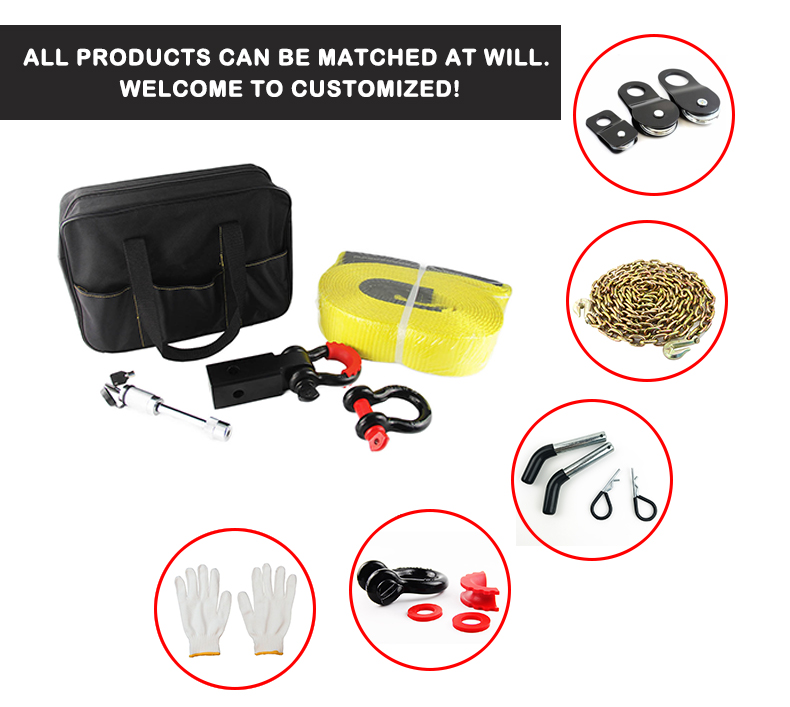 4X4 Off Road Winch Recovery Kit Snatch Strap