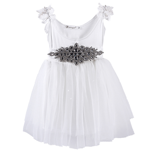 507070334f Fashion Summer White Girl Wedding Dress Brief Lace Suspenders Princess Dresses  With Diamond Belt For Kids
