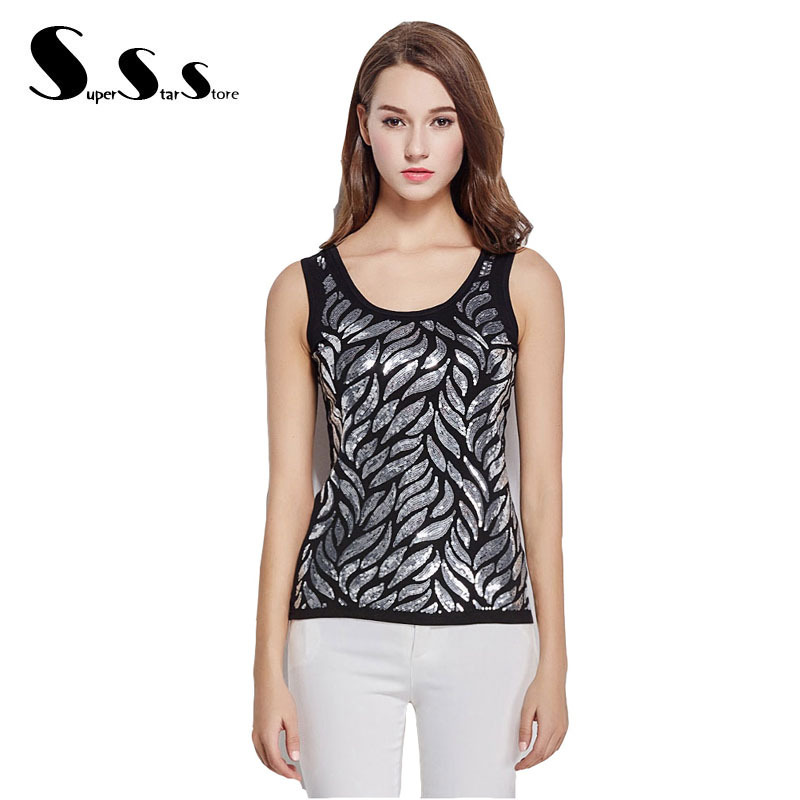 dd079dfd7ceb1 Get Quotations · 2015 White Tank Top Feather Sequined Sleeveless Tops  Womens Tops Fashion O-Neck Sexy Close