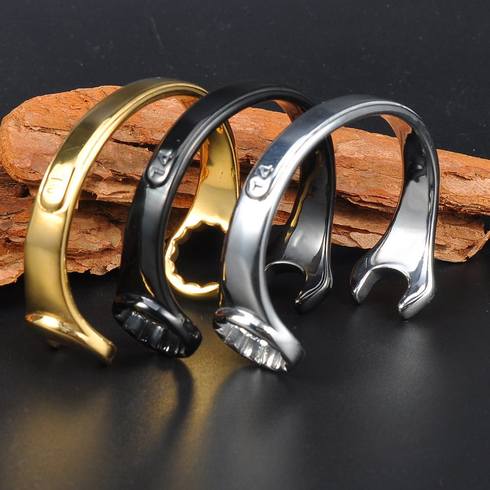 Factory Wholesale New Design Men Bangle Stainless Steel Wrench Bracelet