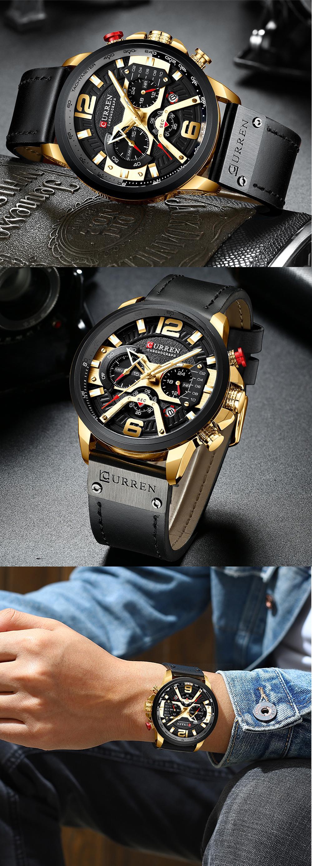 ZHANGZZ Hermoso Reloj Curren, 8142 Reloj de Calendario Reloj