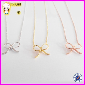 New simple gold chain design pendant pure silver bowknot plain new simple gold chain design pendant pure silver bowknot plain necklace in three colors aloadofball Image collections