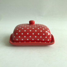 Home decorative red glazed rectangular ceramic butter dish with lid