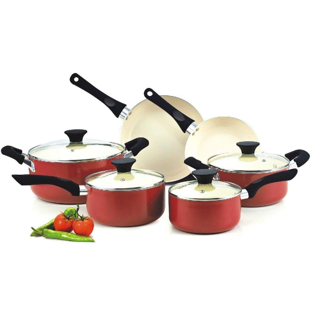 Generic Red Cookware Set Pots And Pans Non-Stick Ceramic Coating 10-piece Cooking Kitchen