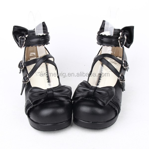 Pumps leather Bowknot Gothic High LL003 Quality Rubber Lolita with 2015 Shoes Fashion Synthetic Black New Shoes soled SxqtfAF