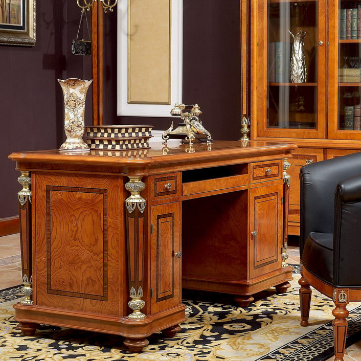 Yb29 Luxury Cherry Wood Executive Office Desk Furniture Clical Italian Design Solid Table