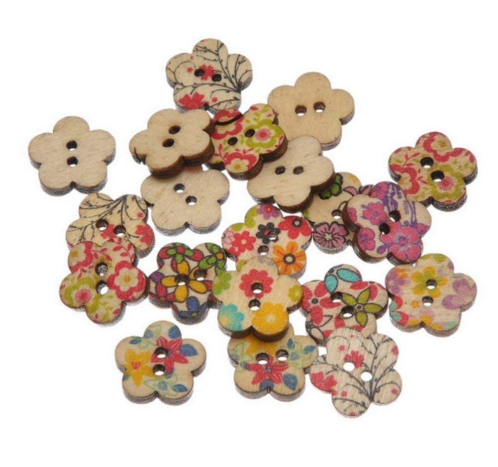 100Pcs Da.Wa Flower Flatback Wooden Buttons Scrapbooking For Wedding Costume Decor Sewing Accessories