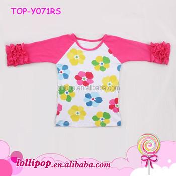 02067865024 Wholesale print shirt fall children pink sleeve flower raglan baby girls  clothes icing ruffle t-