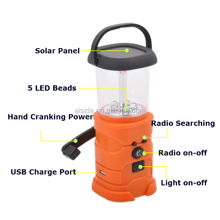 hand crank generator charger power electric  portable flashlight camping lantern