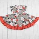 Fashion flower kids frock designs modern girls dresses boutique twirl dress designs teenage girls