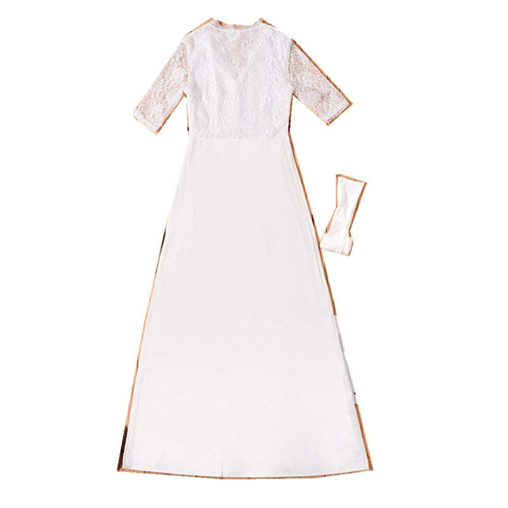 a779a132a9 Get Quotations · POTO Dress for Women,Lace Half Sleeve V Neck Long Evening  Party Dress Maxi Dress