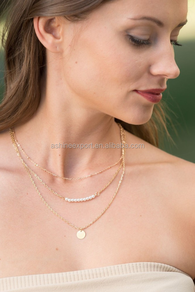Fashion candy simple Necklace Gold Disc & Pearl Bar Layered gold metal alloy thin chain necklace