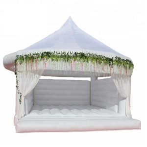 Custom Outdoor White Inflatable Castle Bouncer, Inflatable Wedding House Bouncy Castle For Sale