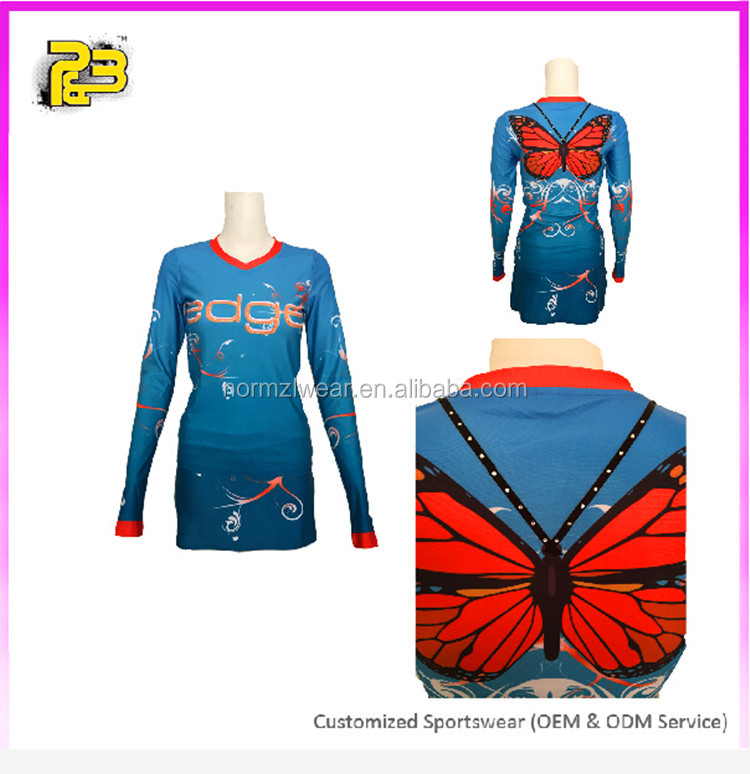 girls long sleeves spandex cheerleading uniform top quality sublimation printing cheer wear