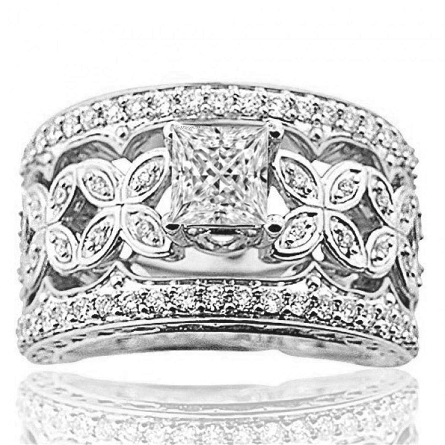 Midwest Jewellery 14K White Gold Bridal Wedding Set Diamonds Extra Wide Round Solitaire (i2/i3, I/j, 1.30ctw)