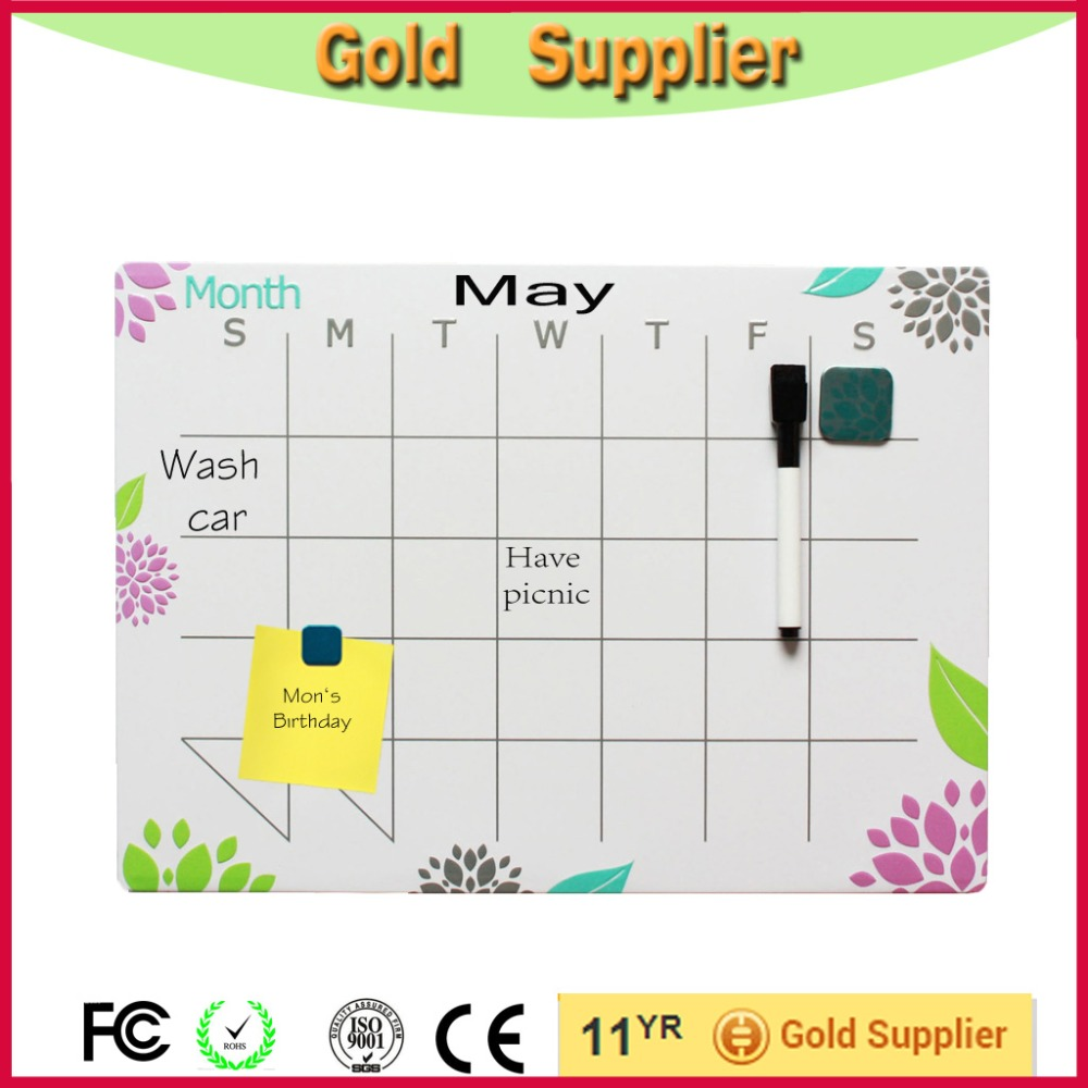 Office&school white magnetic calendar dry erase board