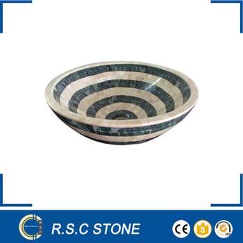 Crema Marfil Marble Mix Green Onyx Mosaic Vessel Sink