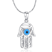 ATHENAA turkish jewelry Hamsa Hand Evil Eye platinum plated Pendant Necklaces