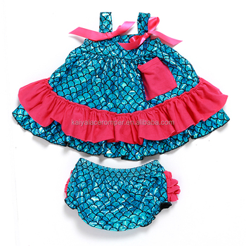 little mermaid clothes baby swing top set custom design wholesale clothing