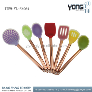 7 pcs durable Colorful Silicone kitchen utensils set with copper plating handle
