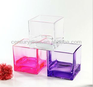 cheap clear glass decoration cube glass vase wholesale