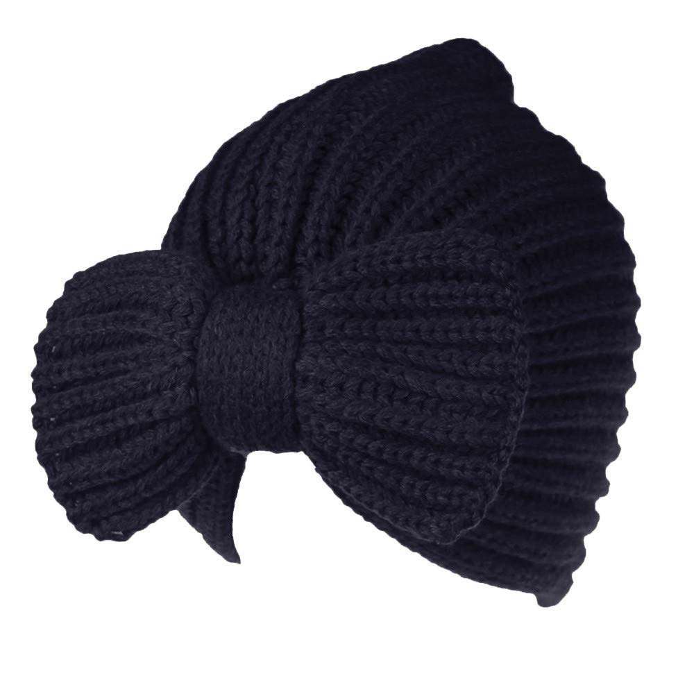 Sothread Men Women Baggy Warm Crochet Winter Wool Knit Ski Beanie Skull Slouchy Caps Hat (Navy)