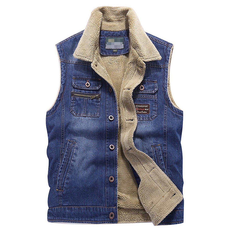 7e70a26c192d9 Get Quotations · Wool Warm Denim Vest Coat Fashion Black Jacket Cotton Denim  Blue Vest Coat