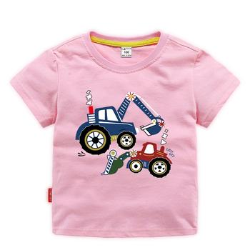 New Design Fashion Printing Pattern Cotton Boy Short Sleeve Summer Boy Pink T Shirt for Kid