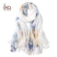 100% Silk Head Scarf 8mm Chiffon Digital Print Fashionable Lady Scarf